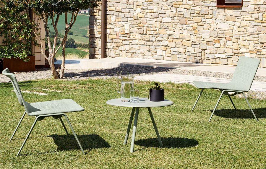 Poltrona lounge Zebra Knit schienale basso di Fast