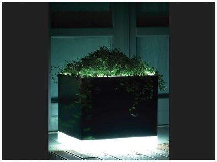 Vaso Cubotti L3 con luce di Serralunga